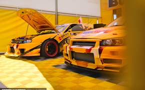 Picture yellow, race, Nissan, drift car
