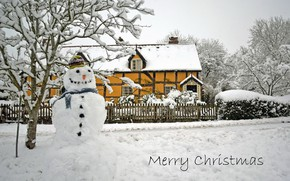 Picture house, holiday, snowman