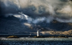 Picture sea, mountains, birds, clouds, overcast, coast, lighthouse, Scotland, Argyle