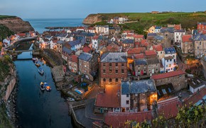 Wallpaper North Sea, North Yorkshire, village, Staithes, North sea, panorama, home, States, England, river, building, sea, ...