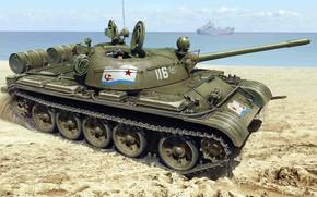 Wallpaper Military-Maritime fleet of the USSR, shore, T-55, Soviet medium tank, THE SOVIET NAVY