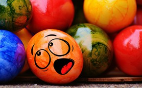 Wallpaper decoration, colorful, Easter, Easter, funny, rainbow, the painted eggs, eggs, smile, Happy