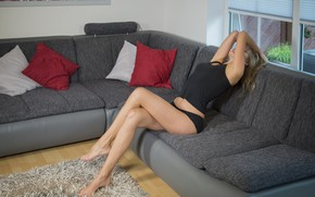 Picture girl, pose, room, sofa, figure