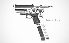 Picture gun, details, Glock 19, disassembled
