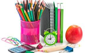 Picture watch, Apple, pencils, alarm clock, white background, notebook, clip, the office, calculator