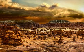 Picture the sky, clouds, landscape, nature, stones, rocks, desert, mushrooms, heat, Utah, USA, America, canyons, worse, …
