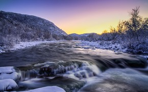 Wallpaper nature, river, winter, snow, trees