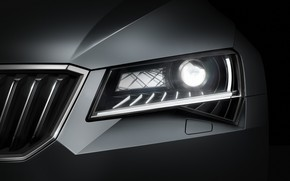 Picture light, background, headlight, the hood, grille, dark, Skoda, Skoda, 2015, Superb