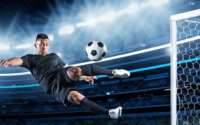 Picture field, jump, football, the game, shorts, the ball, gate, t-shirt, athlete, male, knee, player, uniform, …