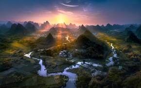 Wallpaper China, river, light, valley