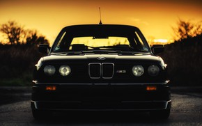 Picture Auto, Black, BMW, Machine, Boomer, Logo, BMW, Lights, E30, BMW M3, The front, BMW E30, …