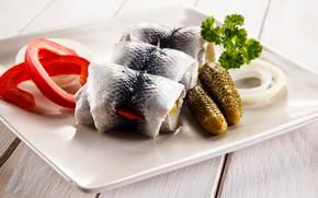 Picture cucumber, bow, pepper, herring