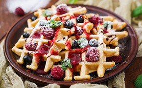 Picture Berries, dessert, Waffles