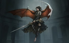 Picture girl, sword, fantasy, armor, wings, Angel, digital art, artwork, dark angel, warrior, fantasy art