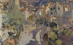 Picture street, home, picture, impressionism, the urban landscape, Konstantin Korovin, The Surroundings Of Nice