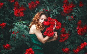Picture girl, flowers, pose, mood, roses, hands, Natalie