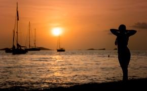 Picture sea, girl, silhouette, Sunset Silhouette