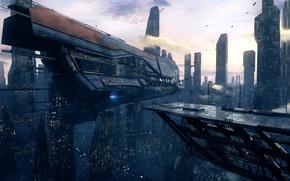 Wallpaper the city, city, future, future, starship, futuristic, ship