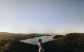 Picture sea, the sky, girl, the ocean, the wind, hills, horizon, blonde