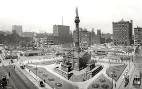 Picture retro, area, monument, USA, Cleveland