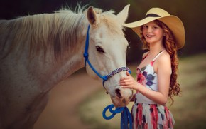Picture horse, girl, hat