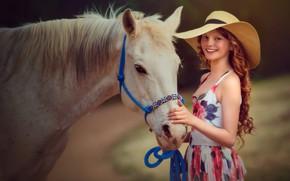 Wallpaper horse, girl, hat