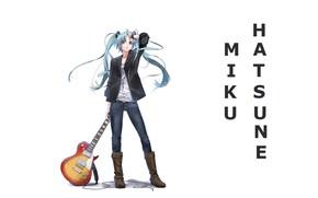 Picture guitar, jeans, boots, white background, vocaloid, hatsune miku, long hair, Vocaloid, Hatsune Miku, two tails