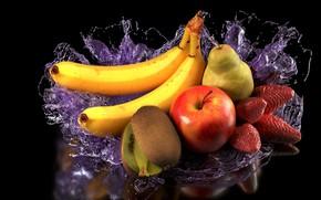 Picture water, art, fruit, Christoph Schindelar, fruits - splashed