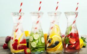 Picture berries, lemon, ice, blueberries, strawberry, bottle, fruit, tube, red currant, refreshing drinks, Natalia Klenova