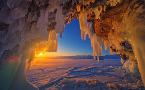 Picture landscape, nature, ice, the evening
