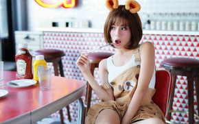 Picture kitchen, ears, Oriental girl, Thirteen leaves, Brode十三