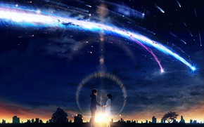 Wallpaper love, romance, art, two, Kimi no VA On, Your name