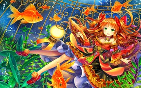 Wallpaper dress, fish, girl