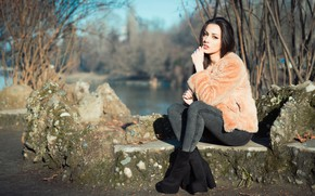 Picture autumn, face, background, model, brunette, Carlotta