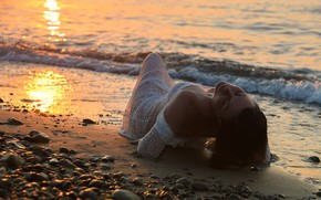 Picture sea, girl, sunset, pose, mood, pebbles