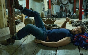 Picture jeans, shoes, t-shirt, actor, lies, on the floor, mess, photoshoot, stuff, Chris Evans, Chris Evans, …