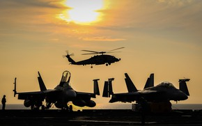 Picture sea, silhouette, fighters, helicopter, deck