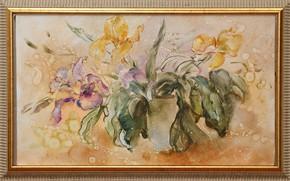 Picture drops, flowers, picture, purple, yellow, Still life, Sfumato, gift painting, Petrenko Svetlana