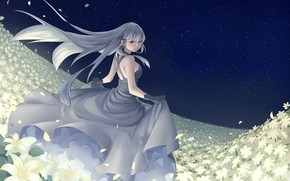 Picture girl, flowers, night, art, tagme artist