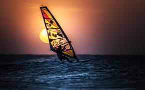 Picture the sun, sail, Windsurfing, Windsurfing