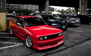 Picture BMW, Grey, RED, STYLE, GOODFON, BLUE, WHELLS, PARKING, LIGHY, BMW E30 M3