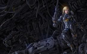 Picture weapons, art, cyborg, blonde, mechanisms, girl, fiction, robot