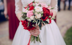 Picture roses, bouquet, dress, the bride, wedding, peonies