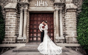 Picture photo, bouquet, dress, temple, the bride, wedding, the groom