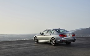 Picture the sky, asphalt, mountains, grey, BMW, horizon, back, sedan, side view, Playground, 540i, 5, M …