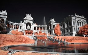 Picture France, Palace, Marseille, Longchamp palace, infrared the