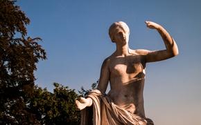 Picture Germany, Park, Summer, Stuttgart, Statue, Sunlight, Marble