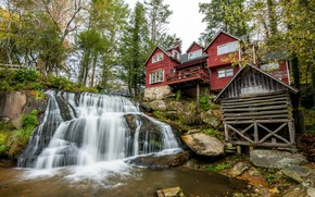 Picture Nature, Waterfall, Trees, River, House