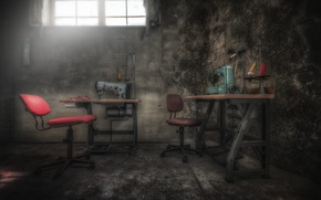 Picture background, workshop, sewing machine