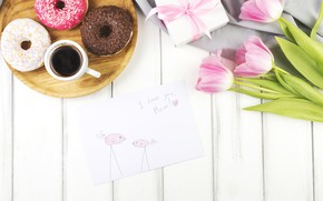 Picture holiday, Love, tulips, flowers, Family, congratulations, postcard, coffee, decoration, Mothers day